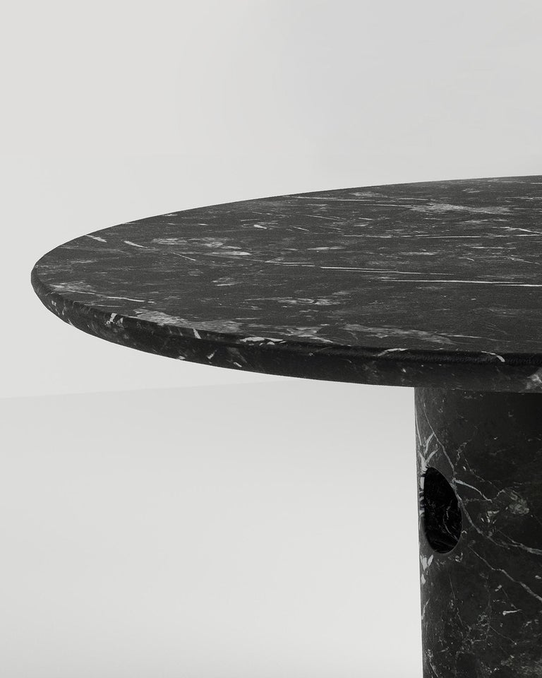 American Circular Meta Dining Table in Black Marble by Phillip Jividen For Sale
