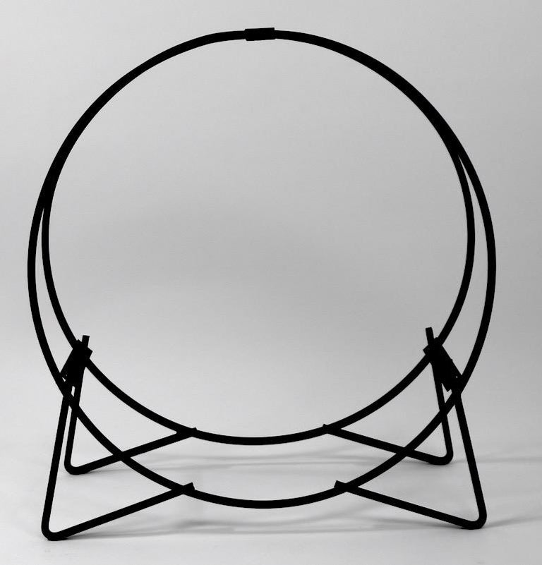 Mid-Century Modern Circular Mid Century Wrought Iron Log Holder For Sale