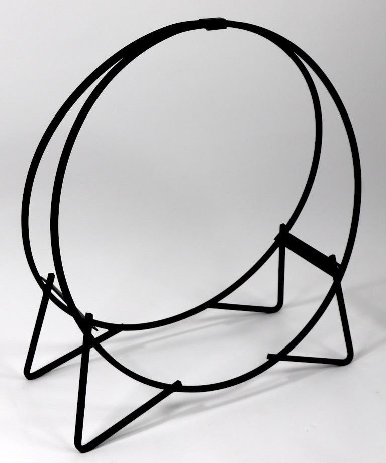 American Circular Mid Century Wrought Iron Log Holder For Sale