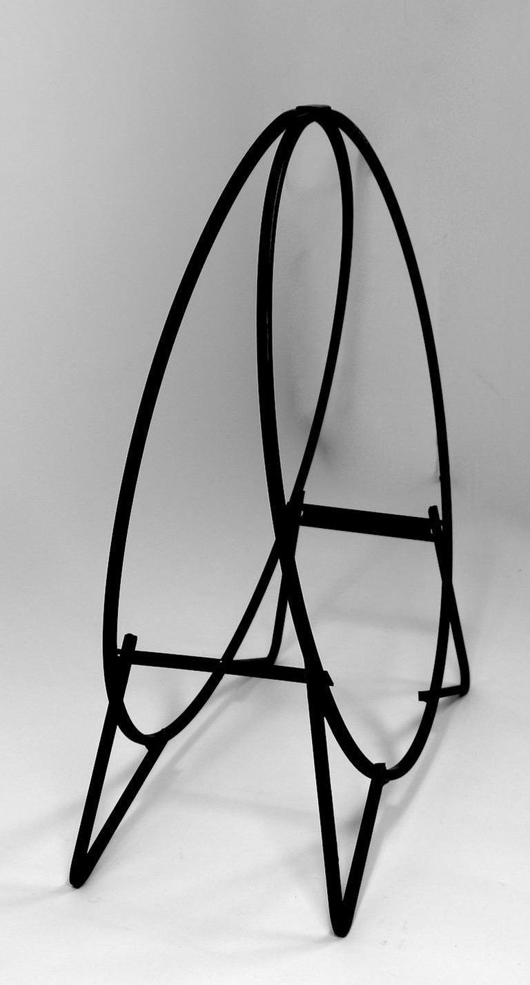 20th Century Circular Mid Century Wrought Iron Log Holder For Sale
