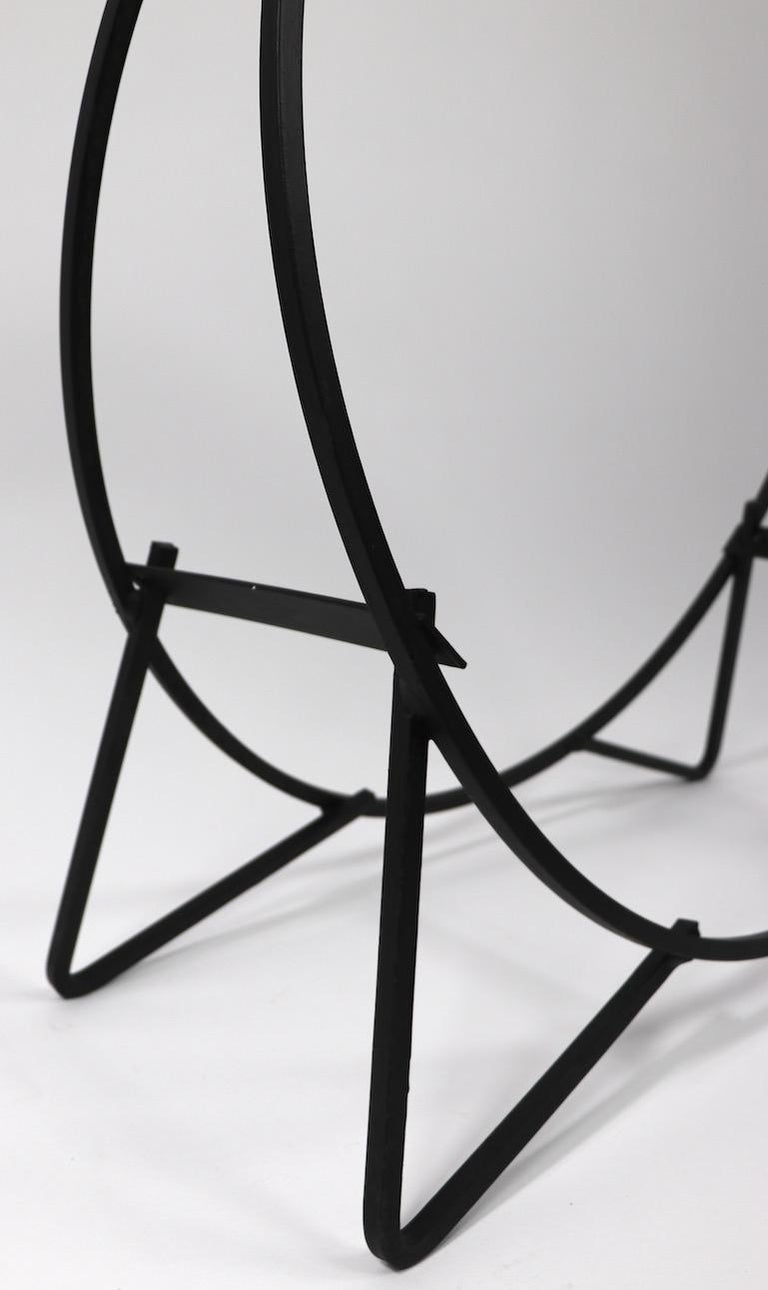 Circular Mid Century Wrought Iron Log Holder For Sale 2