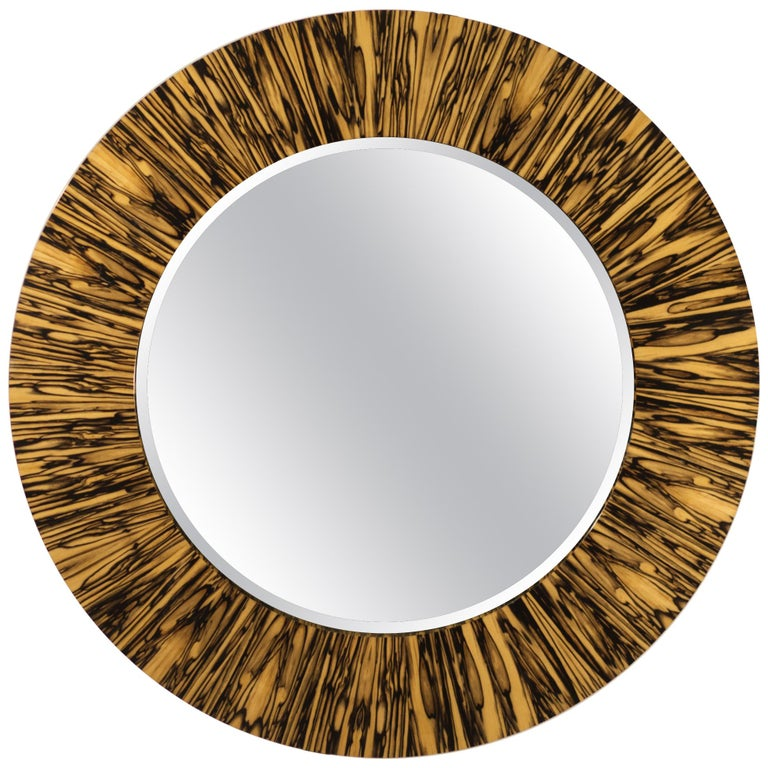 Modernist series Wide Frame Mirror in Royal White Ebony For Sale