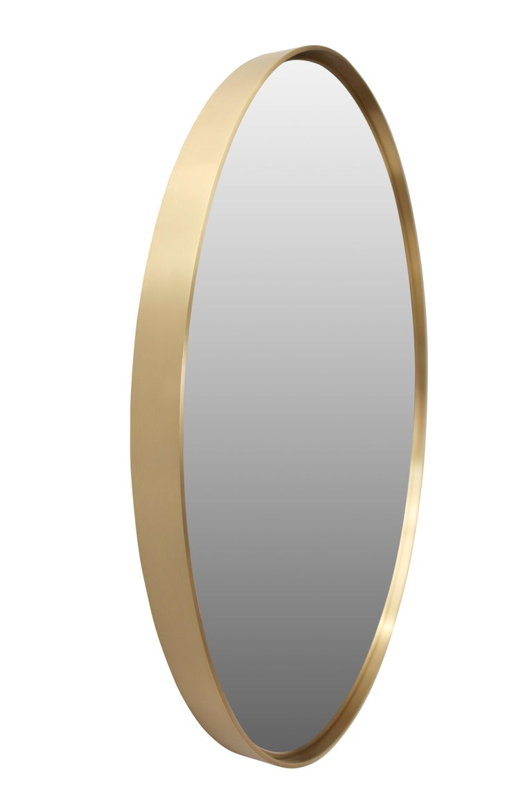 Modern Circular Mirror in Satin Finished Brass For Sale