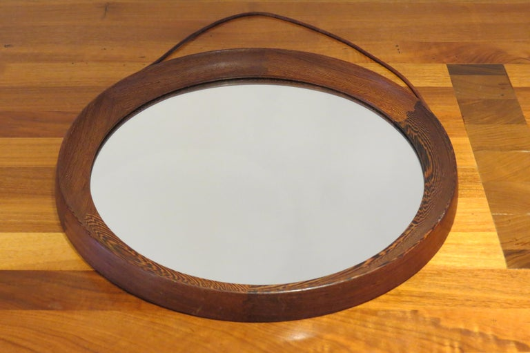 Mid-Century Modern Circular Mirror in Wengé by Uno & Osten Kristiansson for Luxus Sweden For Sale