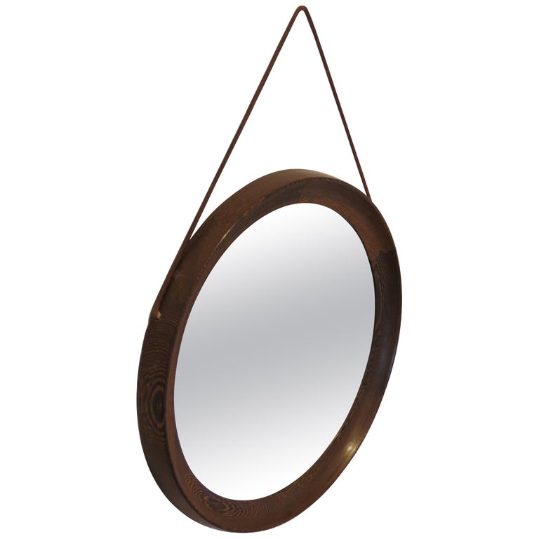 Circular Mirror in Wengé by Uno & Osten Kristiansson for Luxus Sweden For Sale