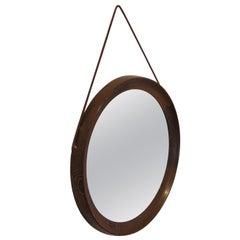 Circular Mirror in Wengé by Uno & Östen Kristiansson for Luxus, Sweden