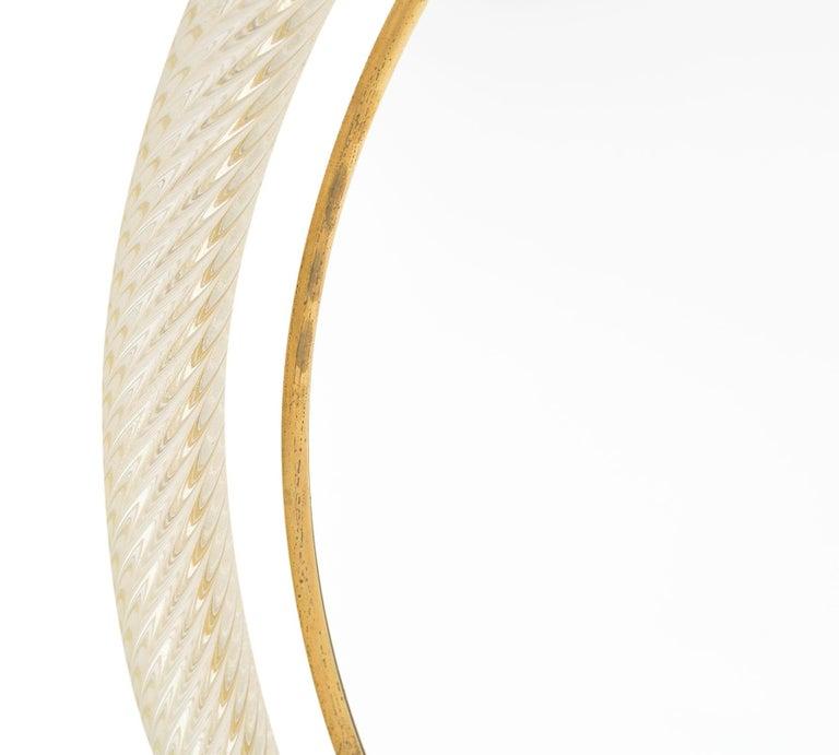 "Late 20th Century Circular Murano Glass ""Torsado"" Mirror by Fuga For Sale"