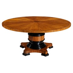 Circular Olive Wood and Ebony Dining Table