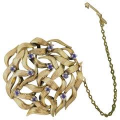 Circular Openwork Sapphire Set of 14-Carat Gold Brooch