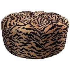 Circular Ottoman in Italian Designer Silky Tiger Woven Heavy Chenille