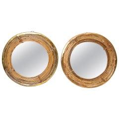 Circular Pair of Rattan and Brass Mirrors, circa 1970