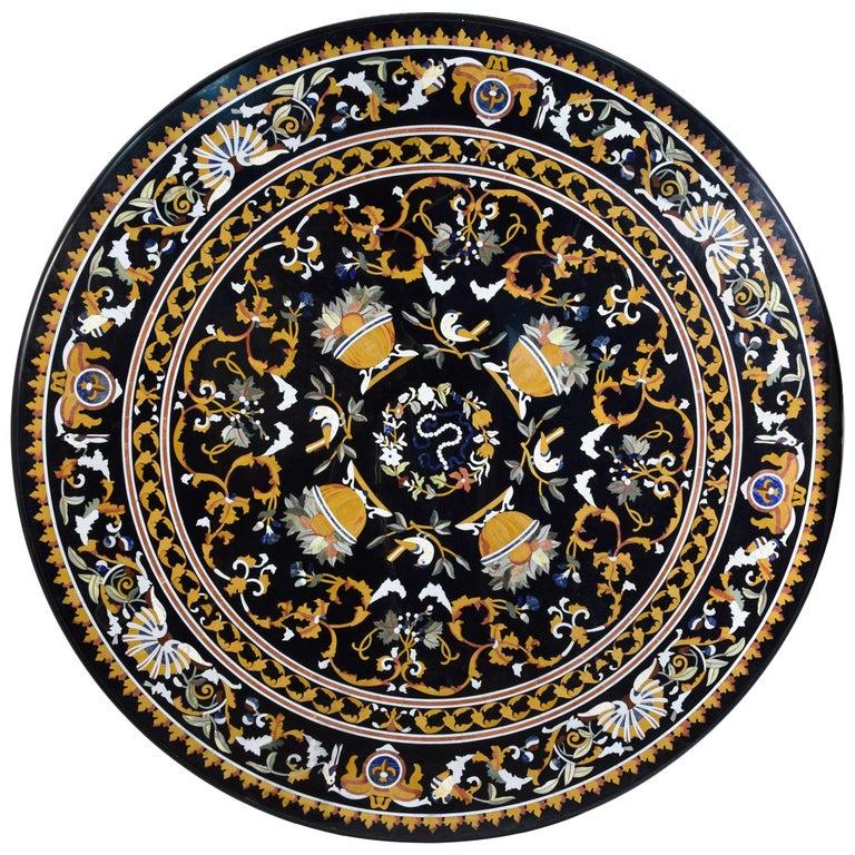 "Circular ""Pietra Dura"" Tabletop, Marble and Hardstones For Sale"