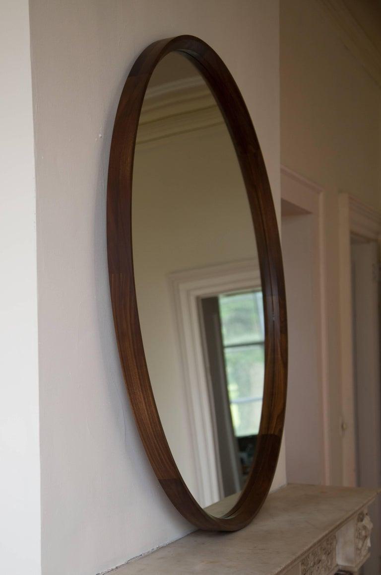American Wood Circular Plane Wall Mirror in Walnut by Fort Standard For Sale
