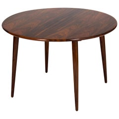 Circular Rosewood Coffee Table with Slightly Tapered Legs, Denmark, 1960s