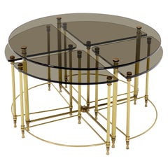 Circular Round Smoked Glass Brass Legs Nesting Coffee Table