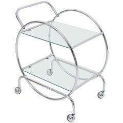 Circular Shape Glass Top Bauhaus Serving Cart Deco Midcentury Wolfgang Hoffman