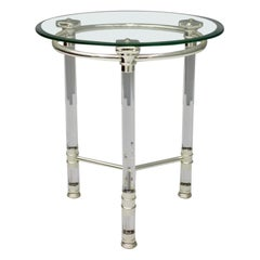 Circular Side Table in Glass, Lucite and Slivered Metal, France, 1980s