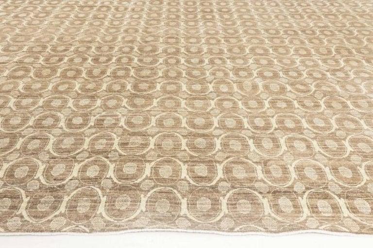 Modern Circular Silk Beige & Brown Rug For Sale