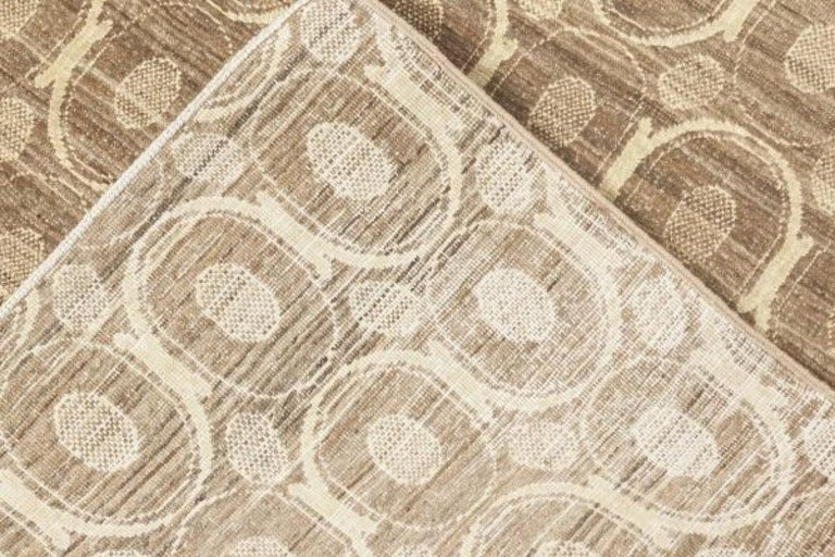Hand-Knotted Circular Silk Beige & Brown Rug For Sale