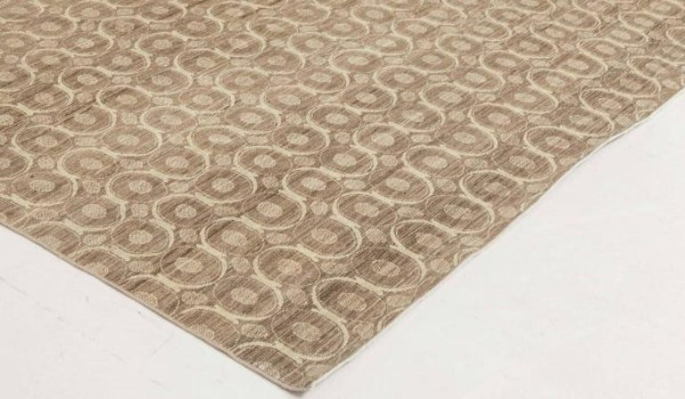 Indian Circular Silk Beige & Brown Rug For Sale