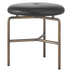 Circular Stool in Bronze and Leather Designed by Craig Bassam