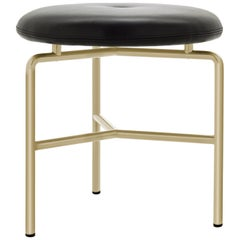 Circular Stool in Satin Brass and Leather Designed by Craig Bassam