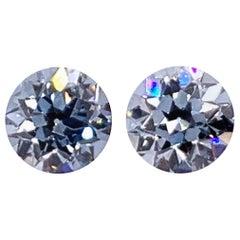 Circular Studs GIA Certified Natural 1.50 Carat Fancy and Intense Blue Diamonds
