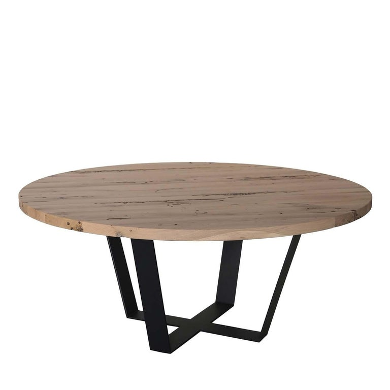 Circular Table in Iron and Solid Oak In New Condition For Sale In Milan, IT