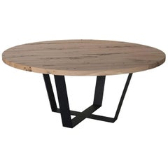 Circular Table in Iron and Solid Oak