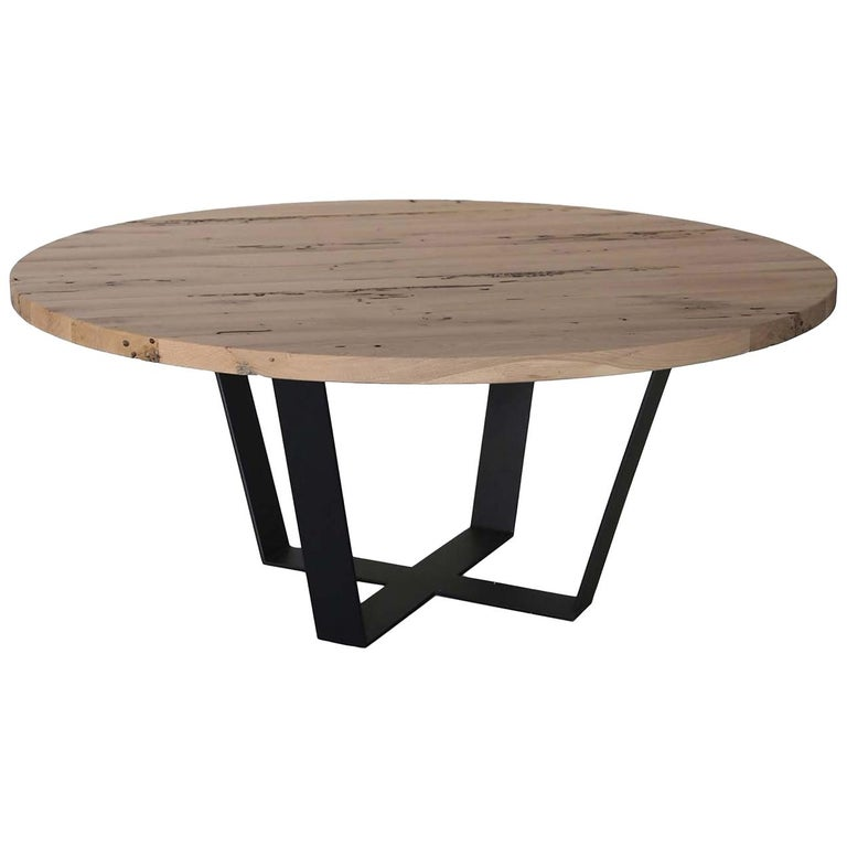 Circular Table in Iron and Solid Oak For Sale