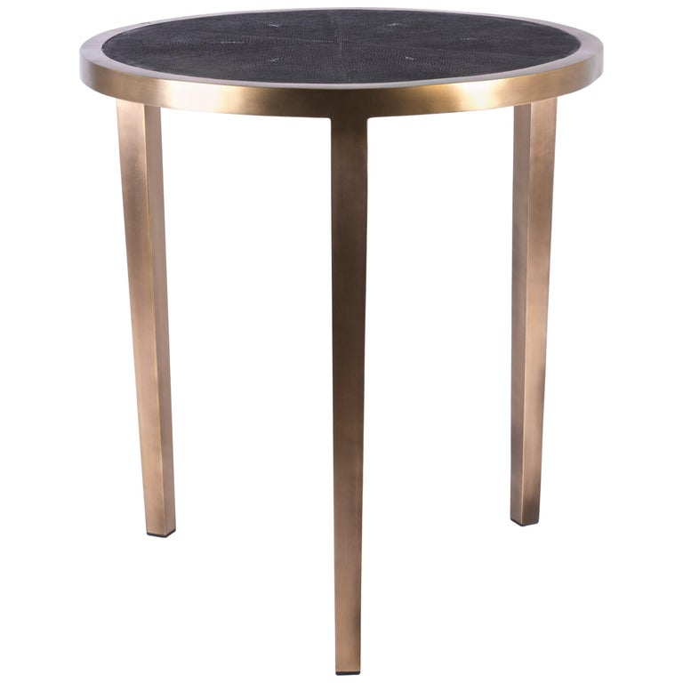 Circular Table Small in Black Shagreen and Brass by R & Y Augousti