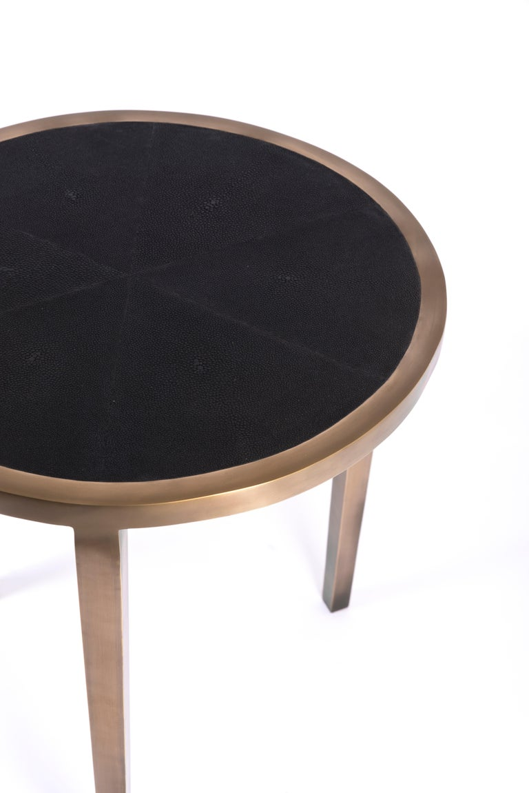 Art Deco Circular Table Small in Black Shagreen and Brass by R & Y Augousti