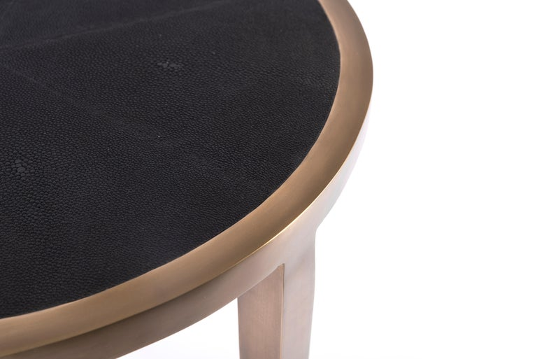 French Circular Table Small in Black Shagreen and Brass by R & Y Augousti