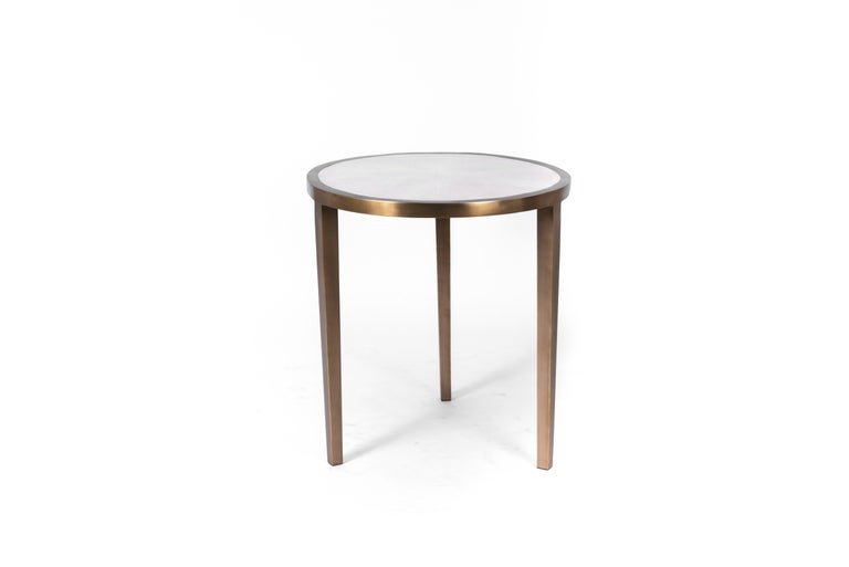 Hand-Crafted Circular Table Small in Black Shagreen and Brass by R & Y Augousti