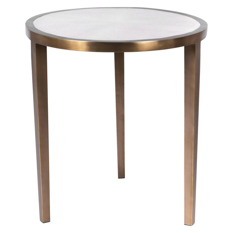Circular Table Small in Cream Shagreen and Brass by R & Y Augousti