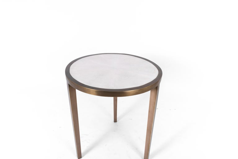 Art Deco Circular Table Small in Cream Shagreen and Brass by R & Y Augousti