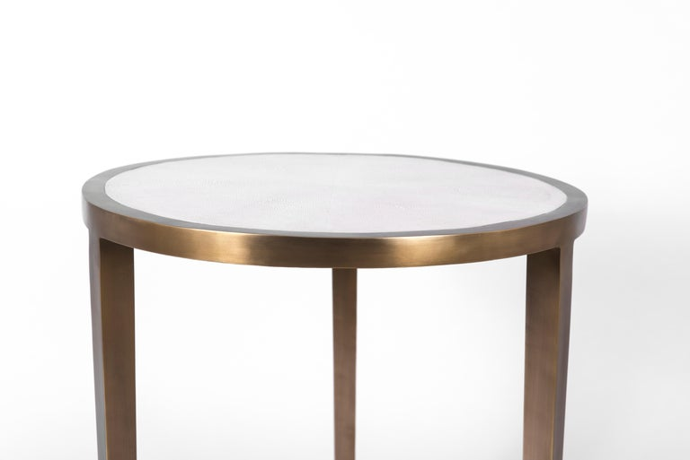 French Circular Table Small in Cream Shagreen and Brass by R & Y Augousti