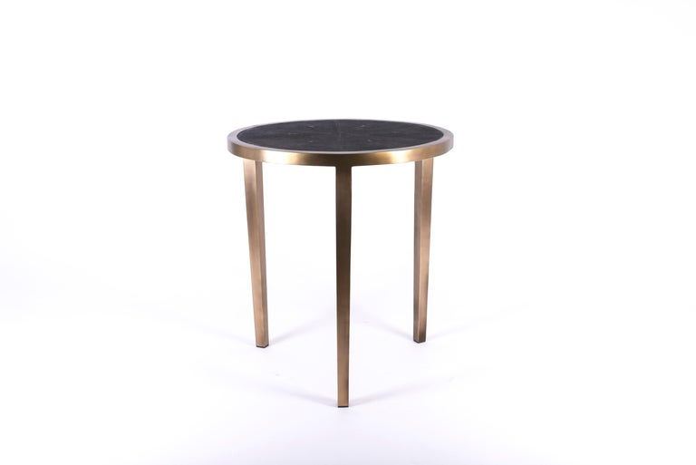Circular Table Small in Cream Shagreen and Brass by R & Y Augousti In New Condition In New York, NY