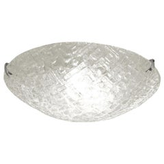 Circular Textured Glass Flush Mount Ceiling Fixture with Nickel Clip Detail