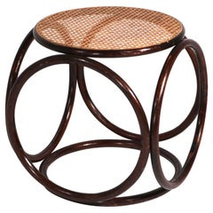 Circular Thonet Ottoman Stool of Bentwood and Cane