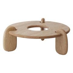 Circular Three-Legged White Oak Henge Coffee Table by Objects & Ideas