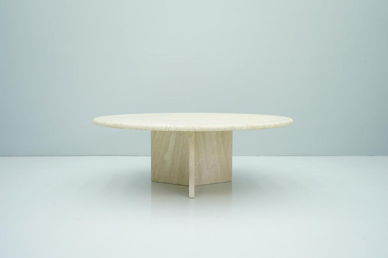Mid-Century Modern Circular Travertine Coffee Table, Italy, 1970s For Sale