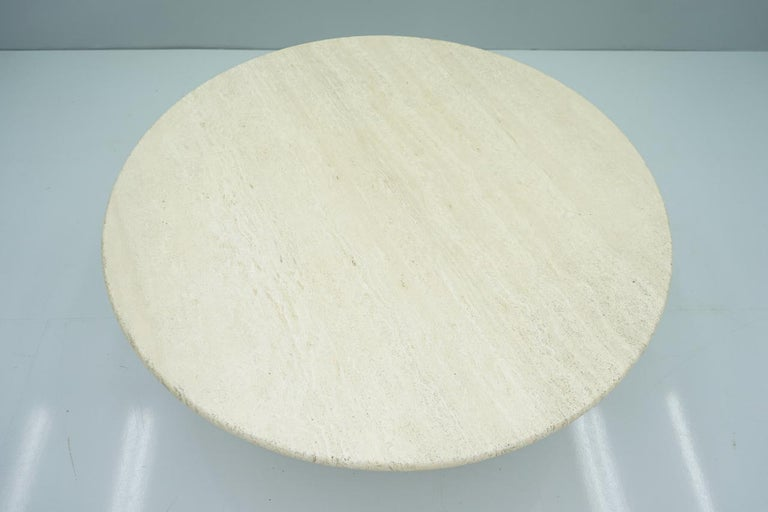 Italian Circular Travertine Coffee Table, Italy, 1970s For Sale