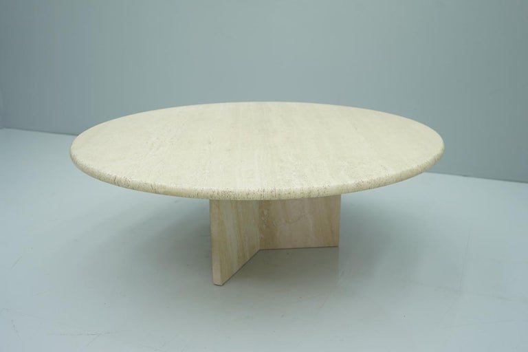 Late 20th Century Circular Travertine Coffee Table, Italy, 1970s For Sale