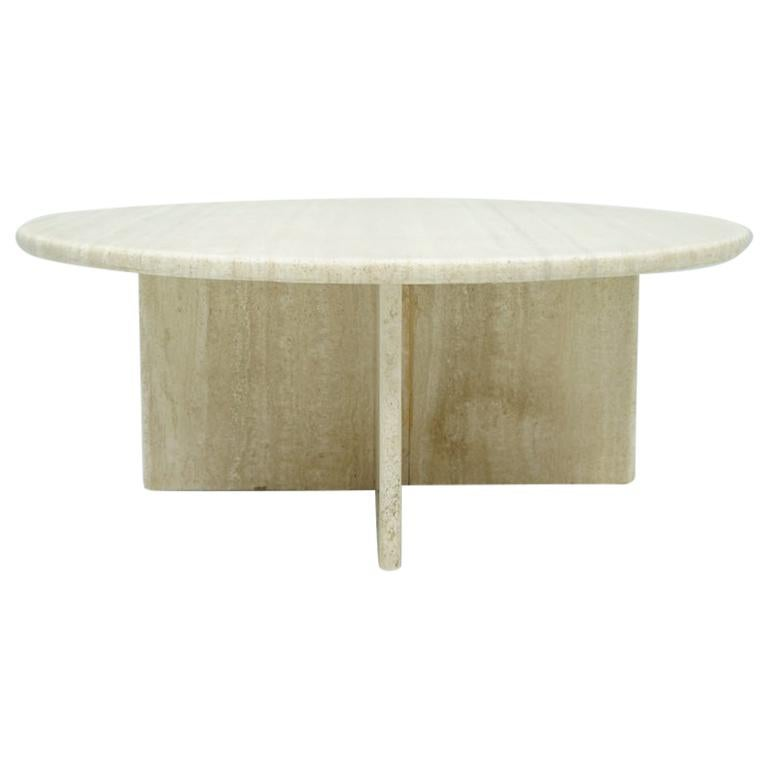 Circular Travertine Coffee Table, Italy, 1970s