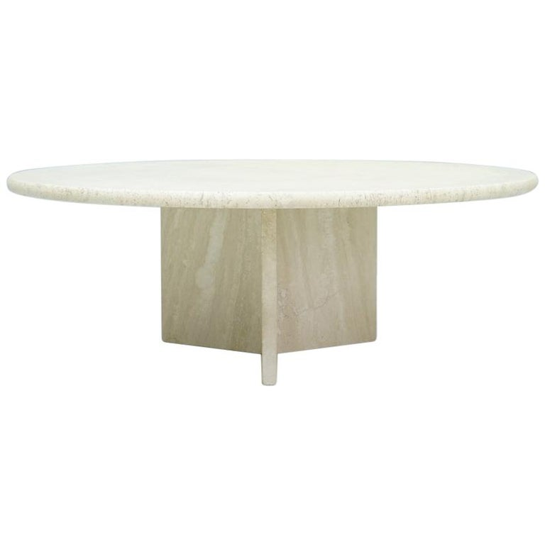 Circular Travertine Coffee Table, Italy, 1970s For Sale