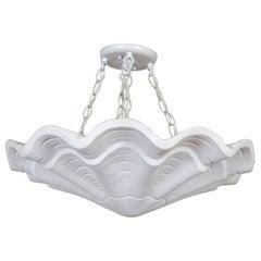 "Circular Undulating Ribbed Plaster Shell Pendant, 22"", 4-Light"