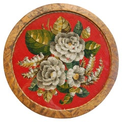 Circular Victorian 19th Century Floral Needlepoint Framed on a Low Wooden Base