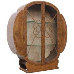 Circular Walnut Art Deco Display Cabinet with Glass Shelves