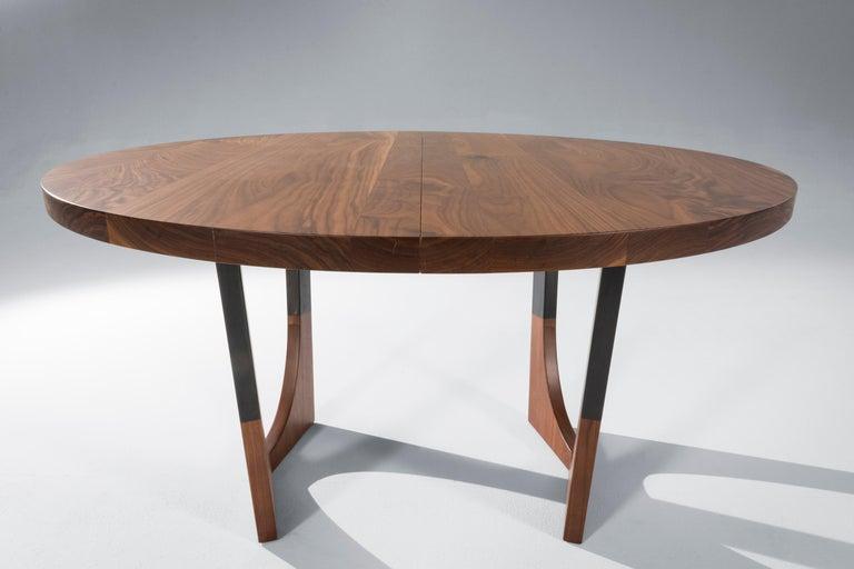 Modern Circular Walnut Expanding Dining Table